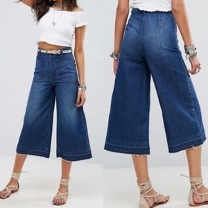 Free People Cropped Wide Leg High Rise Culotte 27